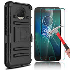 For Motorola Moto G5/G5S Plus Phone Case With Kickstand Clip + Screen Protector