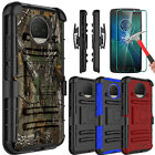 For Motorola Moto G5/G5S Plus Phone Case Stand+Tempered Glass Screen Protector