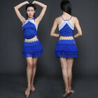 New 2017 Belly Dance Costumes Outfit Lace 2pics Off Shoulder Halter Top&Skirt