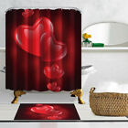Crystal Red Heart Decor For Valentines Day Bathroom Fabric Shower Curtain 71