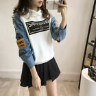 Korean Spring Fashion Women Hole Denim Stitching Sleeve Sweater Hoodies Tops