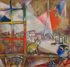 "30Wx29H"" PARIS THROUGH THE WINDOW by MARC CHAGALL EIFFEL TOWER CHOICES of CANVAS"