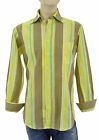 $250 BURBERRY London Green Yellow Khaki Striped Casual Mens Shirt