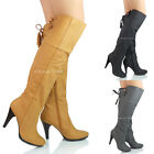 NEW WOMENS LADIES HIGH HEEL KNEE HIGH FAUX SUEDE  DESIGNER BOOTS SHOES SIZE