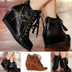 NEW WOMENS LADIES HIDDEN WEDGE FAUX LEATHER STUDDED TRAINER BOOTS SNEAKERS SHOES