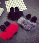 Fashion Women's Faux Fur Slides Mules Sandals Feather Slippers Home Shoes G4