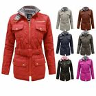 CLEARANCE NEW LADIES QUILTED WOMENS BELTED PADDED ZIP JACKET COAT TOP SIZES 8-14