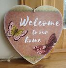 HANDMADE plaque - welcome to our home, butterflies, butterfly, gift - OPTIONS