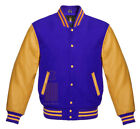 Varsity jacket Baseball School College Blue Wool & Gold Genuine Leather Sleeves