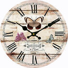 Butterfly Flower Wall Clock Home Living Room Kitchen Decor