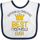 Inktastic Officially Crowned Best Nephew Ever Gold Crown Baby Bib Family Cute
