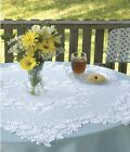 """Heritage Lace 42"""" Tea Rose Table Topper White or Ecru  100% Polyester"""