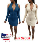 Us Fashion Women Off-shoulder Bodycon Casual Party Evening Cocktail Mini Dress