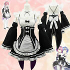 Set Re:Zero kara Hajimeru Isekai Seikatsu Rem Maid Dress Cosplay Costume Black