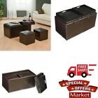 Double Storage Ottoman With Tray Tables & 2 Square Ottomans 3 Piece Set Brown