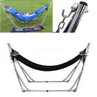 Double 2 Persons Hammock with Folding Steel Stand for Lawn Patio Indoor Outdoor