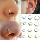 ES_ Stainless Steel Nose Ring Beads Nostril Hoop Earring Piercing Jewelry Cheap