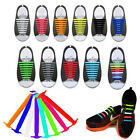 8 Pairs Kids Adult Easy No Tie Shoelaces Elastic Silicone Flat Shoe Lace Sets