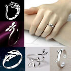 Charming 925 Sterling Silver Cat Knuckle Open Rings Women Party Band Jewelry