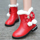 Fashion Girl Kid Fur Lined Princess Leather Shoes Rhinestone Bowknot Ankle Boots
