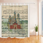 Sheet Music And Ancient Castle Bathroom ShowerCurtainSetFabric&12Hook