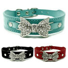 Dog Collar Bling Crystal Big Bow leather Pet Cat Collar Puppy Choker S M L