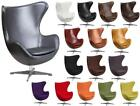 white leather egg chair -  Details about  Leather or Wool Retro Swivel Egg Chair with Tilt-Lock Mechanism