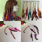 Cute Bohemian Women Girls Real Feather Clips in on Hair Extensions