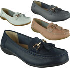 Womens Comfy Flat Loafers Ladies Tassel Casual Real Leather Slip On Shoes Size