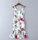 Occident style runway Elastic force fold fish tail printing sexy Camisole Dress
