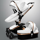 Baby stroller 3 in 1 leather two-way buggy shock absorbers pram baby pushchair
