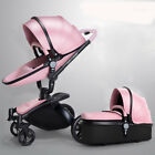 Baby stroller 3 in 1 leather two-way shock absorbers pram baby pushchair leather