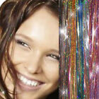 "28"" HAIR Tinsel Silk Bling EXTENSIONS Glitter Sparkly Highlights Streak Clubbing"