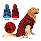 L-XL Large Pet Dog Plaid Shirt Coat Removable Hoodie Sweater Winter Warm Clothes