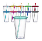 16oz Double Wall Acrylic Tumbler Pool Beach Boat Cup with Twist on Lid and Straw