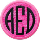Embroidered Circle Font Name Initial Monogram Iron On Patch Pink Sponge Fabric