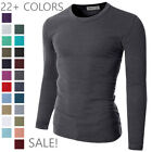 [FINAL SALE]Doublju Mens Basic Crew Neck Long Sleeve Slim Fit T-shirts