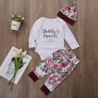 Baby - US Stock Newborn Kids Baby Girls Flower Romper Pants Leggings Hat Outfit Clothes