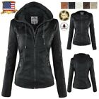 Womens Leather Hooded Jacket Slim Parka Coat Overcoat Trench Zipper Outwear Hot