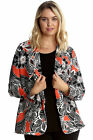 New Womens Plus Size Cardigan Ladies Floral Print Open Front Long Sleeve Orange