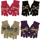 Ladies Knitted Gloves with Bow Winter Thermal Insulated Stocking Filler 6 Colour