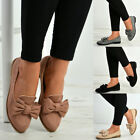 New Womens Ladies Bow Slip On Ballerina Dolly Pumps Ballet Shoes Sizes Uk