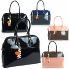 Ladies Medium Patent Leather Shoulder Tote Bag Office Work Day Handbag Designer
