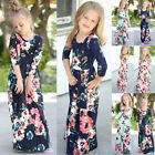 Kids Girls 3/4 Sleeve Floral Maxi Dress Holiday Fancy Party Princess Swing Dress