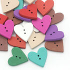 30pcs Heart Wood Button 2-Holes Buttons Sewing Colthes Craft Embellishment 23mm