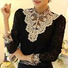 Womens Long Sleeve Clothing Sexy Dentelle dessus Mesdames Chemise Blouse