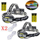 80000LM USB Rechargeable Headlamp 4xT6+2xCOB LED Headlight Flashlight Torch USA