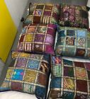 """LARGE LACE CUSHION COVER  24X24"""" 60CM. INDIAN ANTIQE STYLE COTTON PATCH COVER"""