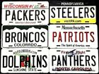 NFL METAL NOVELTY LICENSE PLATE FOOTBALL STATE BACKGROUND ALL TEAMS $10.95 USD on eBay