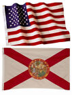 Florida State and American Flag Combination, Made In USA, All Sizes, You Pick